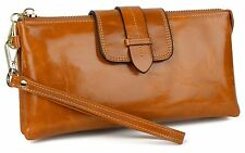 YALUXE Women's Large Capacity Leather Wristlet Checkbook Wallet Small Shoulde...