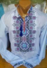 Ukrainian Embroidered Shirt for men. White color. Cross stitch. Size 2XS-3XL