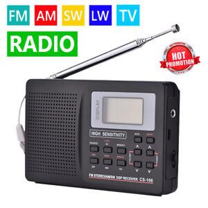 AM FM SW MW LW Full Band Radio Receiver Portable Digital Clock Speaker MP3 AUX