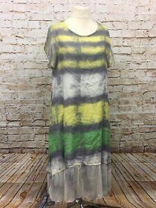 Moonshine Tunika Kleid Leinen Batik Lagenlook Long Übergröße 44 46 48 Neu gelb