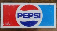Vintage Pepsi Metal Rectangular Sign Red White and Blue