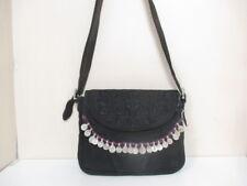 Auth Simone Camille Black Purple Silver Suede &  Leather Hardware Shoulder Bag