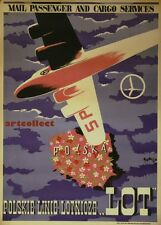 Image: Lot Polish Airline Vintage Travel Poster (1948). NOT ORIGINAL POSTER.