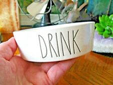 """New Rae Dunn """"Drink"""" """"Farmhouse Large Letter Style"""" Cat Dog Water Bowl-4 3/4"""""""