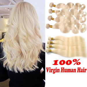 THICK Virgin 100% Human Hair Extensions Wefts Blonde Only1 Bundle Smooth ATOZ