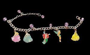 """Disney 5 Charm 7"""" Bracelet Featuring Cinderella Aurora Ariel Belle Tinker Bell"""
