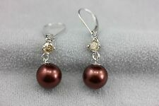 14k white gold dyed brown chocolate cultured pearl round diamond dangle earrings
