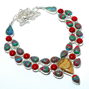 """Rainbow Calsilica & Red Coral 925 Sterling Silver Jewelry Necklace 17.99"""" M1554"""