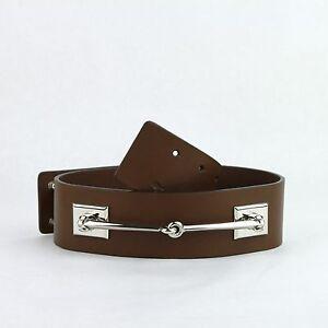 Gucci Nut Brown Leather Horsebit Waist Belt w/Silver horsebit 363024 2548