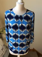 BODEN Blue Navy Geometric Print 3/4 Sleeve Shirt Blouse Top Size 10 Business
