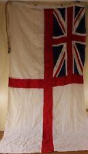 More details for original royal navy ww2 era hand stitched british white ensign flag. naval c1940