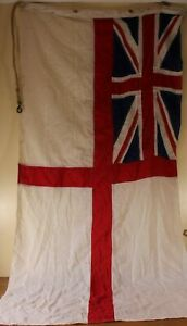 Original Royal Navy WW2 Era Hand Stitched British White Ensign Flag. Naval c1940