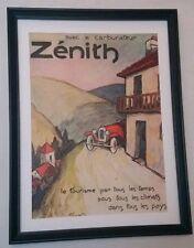Art Deco Advert Car Zenith carburetor 1928 Original Framed Superb Condition