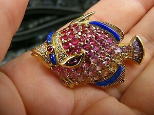18k Yellow Gold Diamond Ruby Pink Yellow Sapphire Fish Animal Pendant Brooch Pin