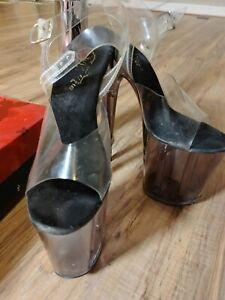 Pleaser Clear Pole Dance Exotic Dancer Heel Platform ShoesSize 7