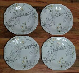 Jaclyn Smith Traditions Set of (4) Flower Wood Grain Plates Floral Farmhouse EUC