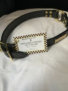 MACKENZIE CHILDS Pet Collar NEW Leather Dog Collar. Medium. Gorgeous Item. Blck