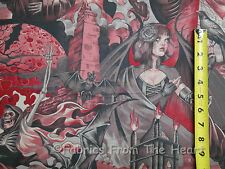 """Haunted House Spooky Lady Grim Reaper Skeltons  23""""x44""""  Alexander Henry Fabric"""