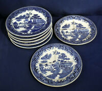 7 Vtg Ideal China USA Grille Plates Blue Willow Ironstone Blue + White 10-1/4""