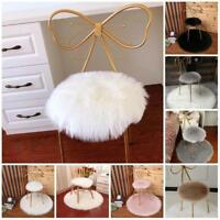 Round Imitation Lamb Wool Cushion Cover White Fur Pillowcase Multi-color 35CM