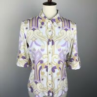 J. McLaughlin M Catalina Cloth Collar Button Front Blouse 3/4 Sleeve Purple Top