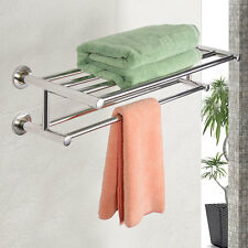 Stainless Steel Wall Mounted Towel Rack Bathroom Hotel Rail Storage Shelf Holder
