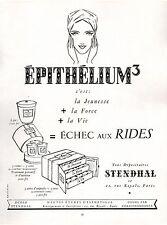 ▬► PUBLICITE ADVERTISING AD Produits de beauté STENDHAL épithélium rides 1954