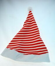 Red and White Striped Santa Hat with Wire