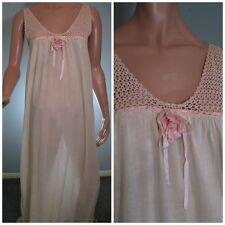 Vintage Edwardian Night Gown Pink Crochet Yoke Cotton