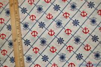 1.6Yds Paul Frank Nautical Print Patriotic Cotton Fabric