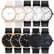 WOMENS MENS FASHION DRESS WATCH 100% LEATHER BAND ANALOG 5ATM LOTS OF COLOURS