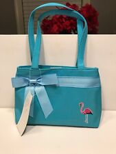 Little Girl's Blue Purse or Tote With Pink Flamingo