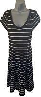 Zara Black & White Striped Fit & Flare Short Sleeved Dress Size Medium