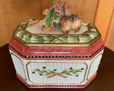 Fitz & Floyd Equestrian Collection Covered Box Leaves & Acorns sm chip on base