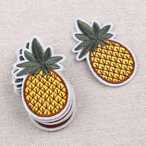 Embroidered Iron On Pineapple Patches Applique Sewing Hand Craft DIY 10pcs