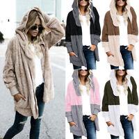 Women's Open Front Hooded Draped Pockets Cardigan Coat Jacket Hoodies Sweater
