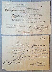 PERU 2 postal receipts for 33 ounzes gold 1828 government Simon Bolivar document