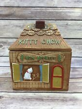 Vintage Rare Shafford Cat Gingerbread House Cookie Treat Jar KITTY CHOW Japan