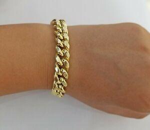 "Real 10k Gold Mens Bracelet Cuban Link 9"" 11mm Box clasp Strong Miami Cuban 10kt"