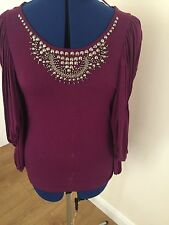 MARKS & SPENCER LIMITED EDITION LADIES TOP BURGANDY 16 WITH DETAILED NECKLINE