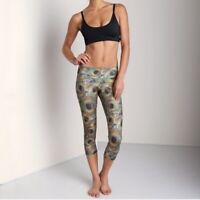 Onzie Peacock Feather Print Cropped Leggings Yoga Workout Capri Mid Rise Size M