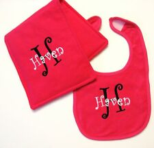 Monogrammed Baby Bib & Burpcloth - You Pick All - NEW