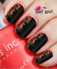 Nail Wraps Nail Art Nail Transfers Nail Decals 20 STUNNING BLACK & RED HEARTS