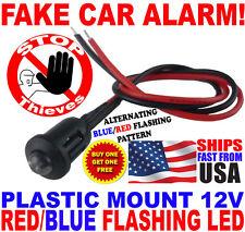 12v BLUE/RED Alternating Flashing Dummy Fake Car Alarm Dash Mount LED Light PM
