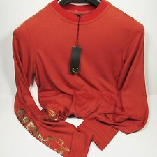 Roberto Cavalli Men's Dragon Outline Pullover Italy Red Coral Size Small