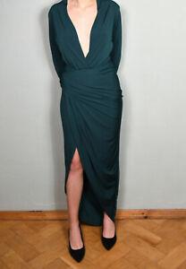 John Zack Maxikleid Kleid Dunkelgrün tiefer V-Ausschnitt Wickellook Gr. 40
