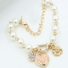 Woman Elegant Gold Plated Rhinestone Heart Bangle Women Pearl Bracelet Jewelry