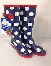 Donna Taglia 4 UK Stampato Navy Stivali Di Gomma Spot Da Donna Stivali di gomma da pioggia inverno