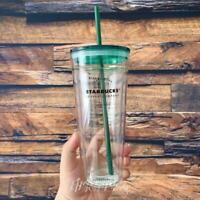 Starbucks Glass Coffee Mug coffee green lid Sippy cup Gift Limited Edition 591ml