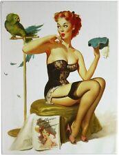 PinUp Girl mit Papagei Nostalgie Kühlschrank Magnet 6x8 cm Tin Sign EMAG185